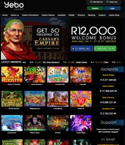 Yebo casino homepage