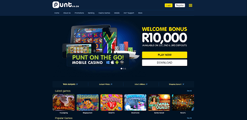 image of punt casino lobby top SA online casino