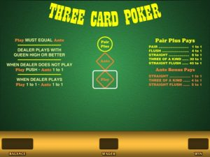 image of multi-hand 3 card poker game online