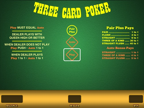 image of multi-hand three card poker game online