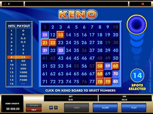 online keno rules