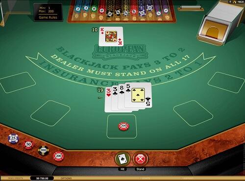 image of european blackjack game