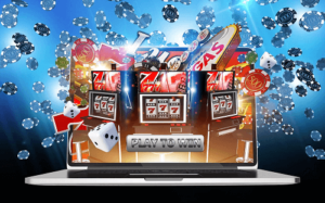 free online casino games laptop with casino chips and slot reel