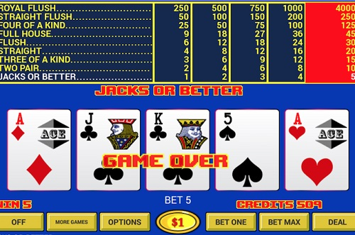 image of online video poker screen