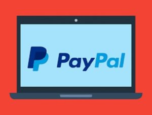 image of paypal on computer online casino banking
