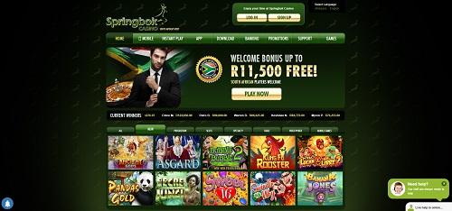 image of Springbok Casino home page best SA online casino