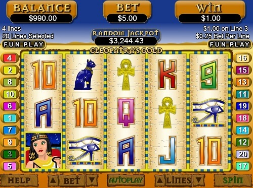 image of slot game screen reels Cleopatra's Gold