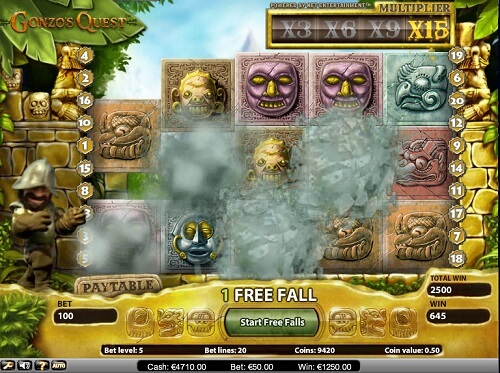 image of gonzo's quest slot game reels
