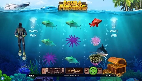 image of scuba fishing slot game reels