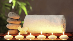 candles and towels at spa casino activities