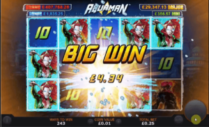 aquaman slot game reels with big win icon