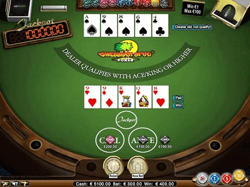 online Caribbean stud poker table