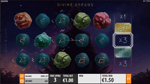 divine dreams slot game reels