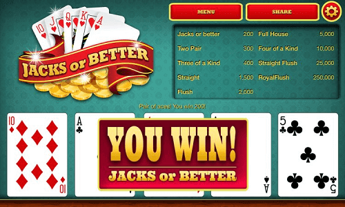 Jacks or Better winning hand