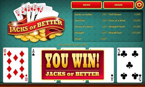 Jacks or Better winning hand