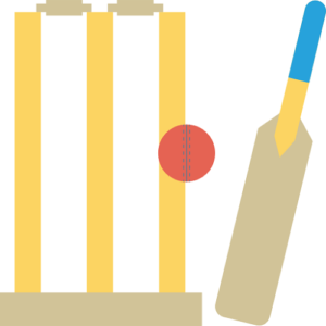 cricket bat next to ball in front of wickets cricket betting