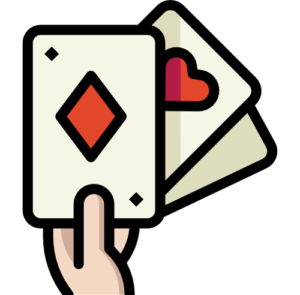 hand holding three playing cards