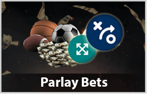 parlay bet with sports balls and money