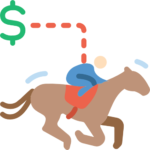 jockey riding a horse with a dollar sign above it