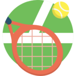tennis racket and ball in front of grass court