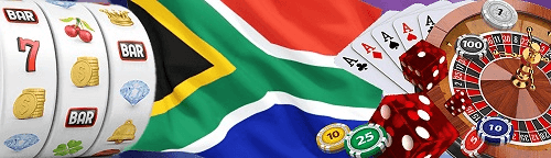 south african rand casinos slot machine reels and roulette table with south african flag